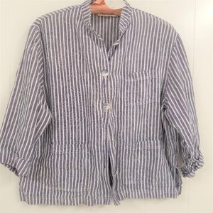 David Dare Jacket Ticking blue and white L